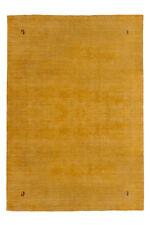 Gabbeh UNI TAPPETO ANNODATO A MANO 100% lana soffice spessa GIALLO 80x150cm