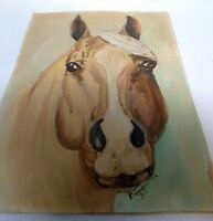 *Vintage 1975 Signed Oil Canvas Painting Unframed Brown Horse Head 12 x 16 Inch