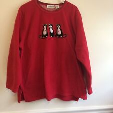 Ugly CHRISTMAS Fleece Red Sweatshirt Black Cats Holly Plus Size 2X Pullover C2
