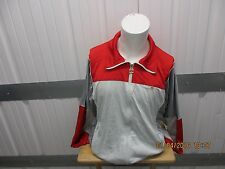 VINTAGE ELLESSE ZIP UP TRACK JACKET MEDIUM RED/WHITE NYLON/POLYESTER BLEND