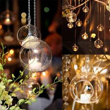 Hanging Glass Bauble Sphere Candle Tea Light Holder Clear For Wedding Xmas Decor