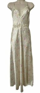 Exquisite Vintage Christian Dior Satin Long Pastel Floral Nightgown Sz Small