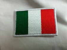 TOPPA PATCH BANDIERA ITALIANA RICAMATA ITALIA BORDO BIANCO ITALIAN FLAG WHITE