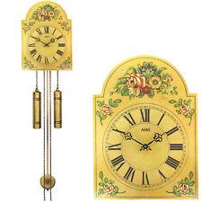 AMS 835 Wanduhr mit Pendel mechanisch antik vintage Pendeluhr mit Blumen-Muster