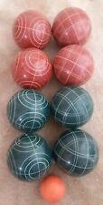VINTAGE BOCCE BALL SET LAWN CARPET BOWLING BOULES 9 PIECE