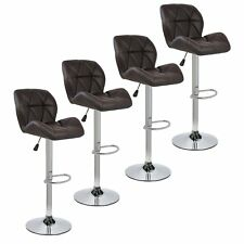 Modern Set of 4 PU Leather Bar Stools Adjustable Pneumatic Swivel Pub Chair