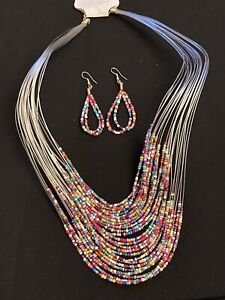 Vintage Style Multicolour Beaded Necklace & Earrings. Womens Costume Jewellery