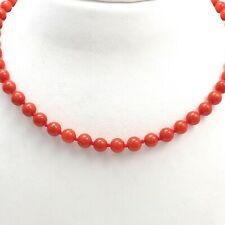New 14k Gold 6mm Red Coral Bead Necklace 19 Inch