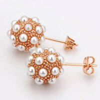 New Fashion Women 18K Rose GOLD GP Round Pearl Stud Earrings  Lovely Gift
