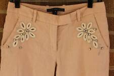 Robert Rodriguez~Linen blend pants with embellishment~Cropped~Pink~6