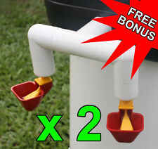 2 x DBL Outlet Cup Drinker / Waterer for 6-8 Layers Great for Chickens / Poultry