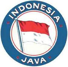 Java INDONESIA     Vintage-Looking Travel Decal/Baggage Label/Sticker
