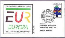BRD 1998: Deutsche Einheit! FDC der Nr 1985! Sonderstempel Bonn! Gelaufen! 1605