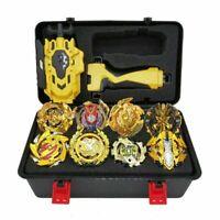 8PC/Set Beyblade Burst Gold Gyro W/ Grip LR Launcher + Portable Storage Box Case