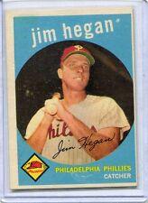 1959 Topps Baseball Card Jim Hegan Philadelphia Phillies Excellent # 372