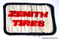 "ZENITH TIRES EMBROIDERED SEW ON ONLY PATCH COMPANY ADVERTISING 3"" x 2"""