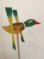 Wooden Windmill Small Duck Wind Spinner Whirligig Folk Art Hand painted 21cm