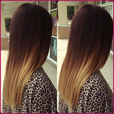 Ombre Straight Brazilian Human Hair Lace Front  Wig, 18 inches 130% Density