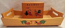 Vtg Rooster Wooden Recipe Box and tray Made in Japan