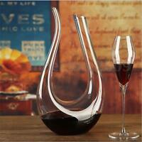 1.5L Lead-free U shaped Crystal Glass Horn Wine Decanter Wine Pourer Container !