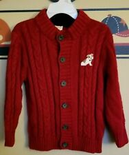 GYMBOREE Boys Cable Nit Puppy Sweater Sz 2TRed.
