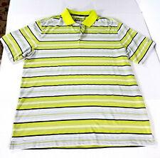 Nike Golf Dri-Fit Key Stretch Uv Stripe Polo Shirt Men Xl Lime Green 585825-307