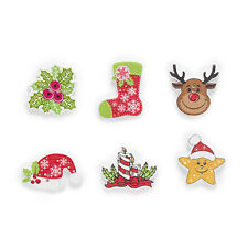 50pcs Christmas Wood Buttons Sewing Scrapbooking DIY Clothing Kids Decor 19-30mm
