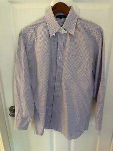 Tommy Hilfiger Mens Regular Fit Check Dress Shirt  Purple 15 1/2 32/33 New