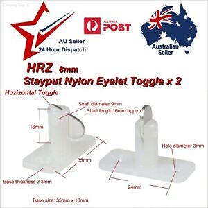 2x Stayput Fasteners Horizontal Double HRZ 8mm Stay Put T Toggle tarp eyelet van