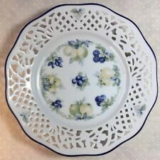 Antique Open Lace Scalloped Plate, Blue Rim, Fruit and Berry Pattern 7.5""