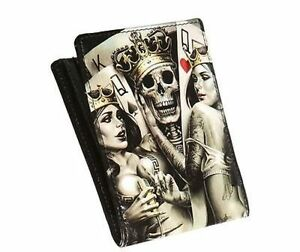 OGABEL Og Abel 2 Of A Kind Tattoo Artist Skull Love Rocker Punk Bi Fold Wallet