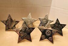 Star Silver Tone 6 Napkin Rings