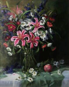 Linda Glover Gooch Fireworks Spring Bouquet Oil Painting on Linen 30x24