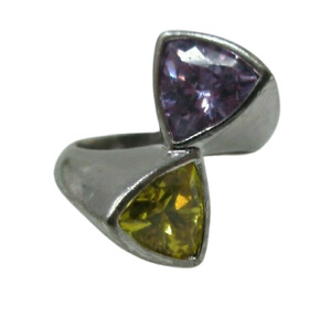 Lab Purple Amethyst and Citrine Modernist RING Sterling Silver 925 US Size 6.5