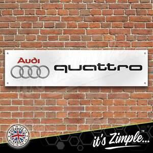 Audi Quattro Logo Banner Garage Workshop Sign Printed PVC Trackside Display