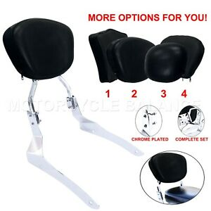 Passenger Chrome Cushion Backrest Pad Sissy Bar for Yamaha V-Star 950 1300