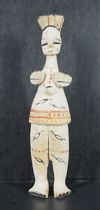 Antique Native Southwestern Latin American Wooden Doll Painted Stumped #3 yqz