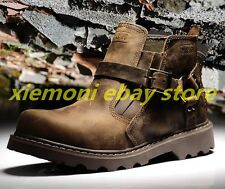 New Mens Desert Boots Retro Millitary Lace Up Oxfrds Leather Buckle Shoes Biker