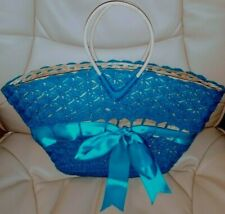 Cute Vintage Knitted Turquoise Pattern Bow Straw Bag Delicate Tote Purse
