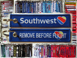 Heart Logo Remove Before Flight tag keychain 4 Southwest Airlines crews