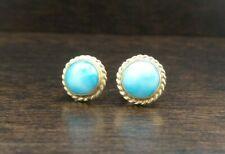 Beautiful Unusual Vintage 14K Yellow Gold & Turquoise Earrings