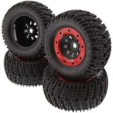 Thunder Tiger 1/8 MT4-G3 * 4 TIRES & 17mm SPLINED HEX HUB WHEELS, RED BEAD LOCKS
