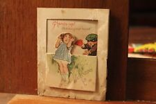 ca. 1900's Antique Valentine's Day Card Die Cut Hands Up! Burgular