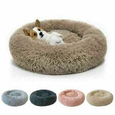 Round Plush Donut Pet Dog Cat Bed Fur Cuddler Warm Soft Puppy Calming Kennel Bed