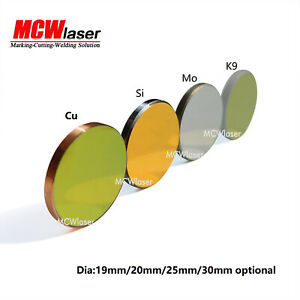 MCWlaser K9 Si Mo Cu Mirror for CO2 Laser Engraver Cutter Dia 19 20 25 30 38.1mm