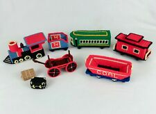 Vtg Plastic Canvas Needlepoint Train Finished 6 Pieces Engine & 5 Cars Christmas