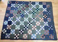 Vintage Hand Sewn Quilt Dark Textured Fabrics  50 x 60 inches         LS0497