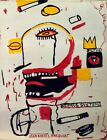 Vintage Abstract Painting Signed Jean Michel Basquiat, Modern Old 20th  Art