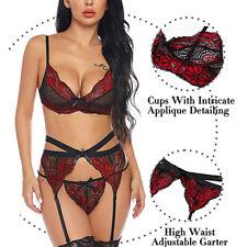 Womens Lace Braltte Garter Belt G-string Briefs Babydoll Lingerie Set Sleepwear