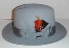 New Mens SCALA sicily Fur Felt fedora Hat  LIGHT GREY Furfelt size SMALL